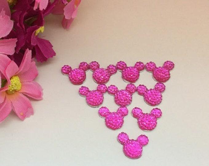 40pcs Rose Pink 14mm Flat Back Mouse Head Resin Rhinestones Gems - DIY Craft Embellishments by MajorCrafts