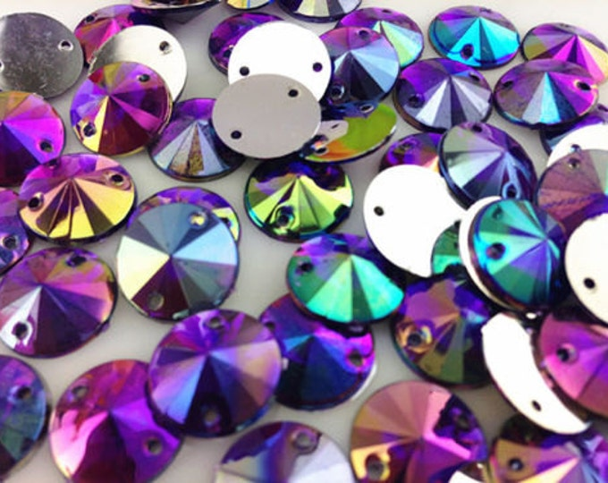 Royal Purple AB Round Flat Back Pointed Sew On Rivoli Resin Rhinestones Embellishment Gems C4