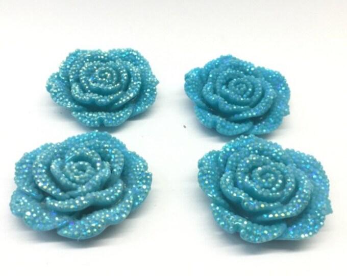 MajorCrafts 3pcs Sky Blue AB 42mm Large Flat Back Chunky Resin Rhinestone Rose Flower Embellishments C2