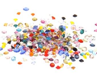 MajorCrafts® 1400pcs 1.1mm Mixed Colours Micro Cubic Zirconia Glass Cut Rhinestones C00