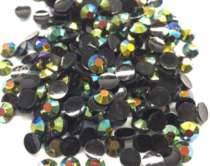 Black Green AB Flat Back Round Resin Rhinestones Embellishment Gems C70