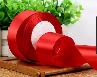 MajorCrafts® 50mm 22metres Crimson Red Single Sided Satin Fabric Ribbon Roll R26