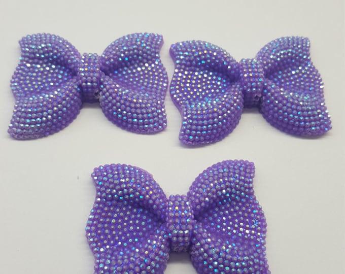 MajorCrafts® 3pcs 54mm Lilac Purple AB Large Flat Back Chunky Resin Rhinestone Embellishment Bows C4