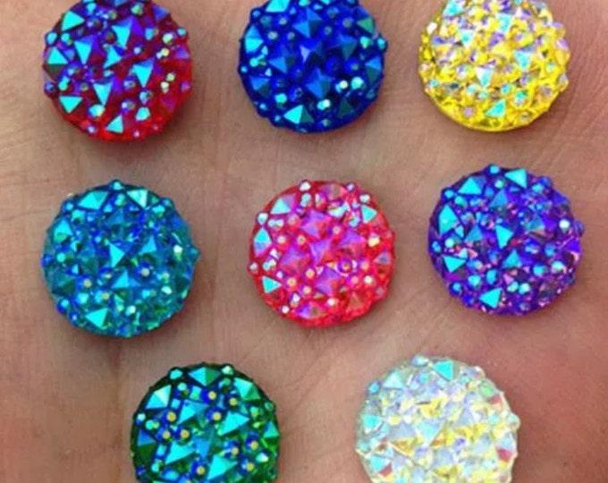Mixed AB Flat Back Round Resin Rhinestones Embellishment Gems