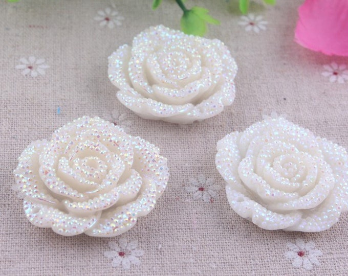 MajorCrafts 3pcs White AB 42mm Large Flat Back Chunky Resin Rhinestone Rose Flower Embellishments C10