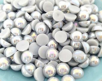 MajorCrafts® 200pcs 8mm Light Grey AB Flat Back Half Round Resin Pearls Gems C58