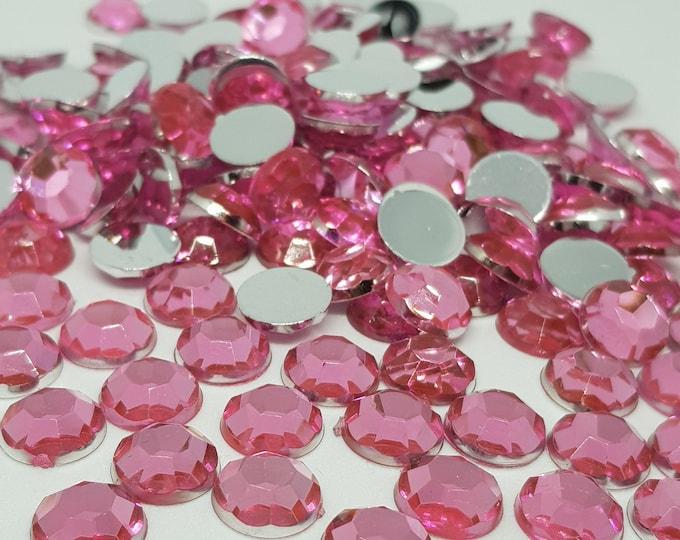 MajorCrafts® 120pcs 10mm Light Pink Flat Back Taiwan Acrylic Rhinestones Gems C3