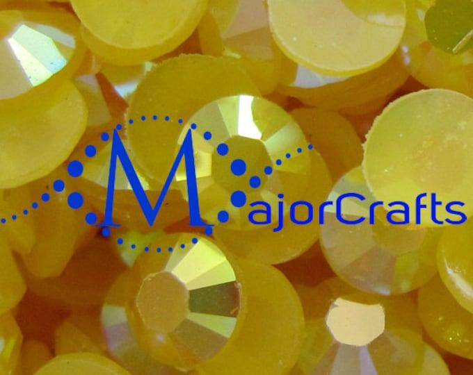 Yellow AB Flat Back Round Resin Rhinestones Embellishment Gems C54