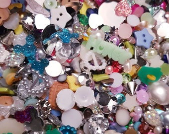 80g Craft Embellishment Mix of Rhinestones, Buttons, Cabochons, Sequins & Pearls