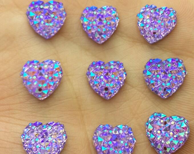 Purple AB Flat Back Heart Sew On Resin Rhinestones Embellishment Gems