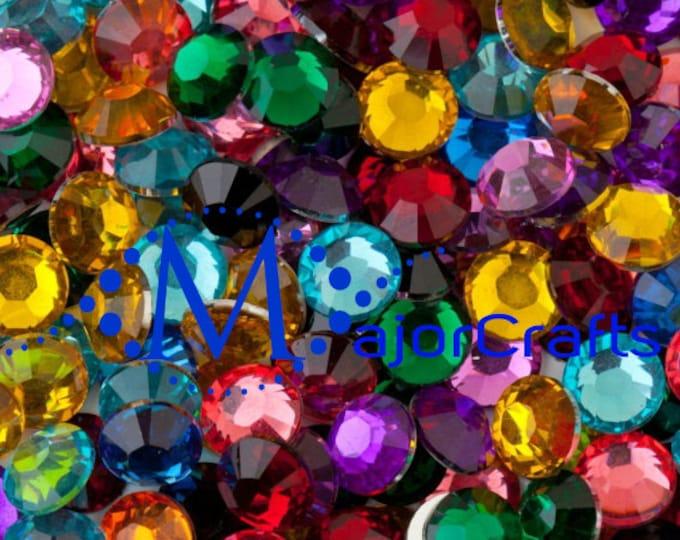 Mixed Colours Flat Back Round Resin Rhinestones Embellishment Gems C55