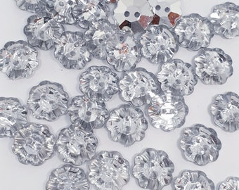 MajorCrafts® 40pcs 13mm Crystal Clear Flower Faceted Acrylic 2 Holes Sewing Craft Buttons