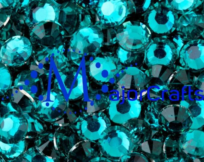 Aquamarine Blue Flat Back Round Resin Rhinestones Embellishment Gems C28