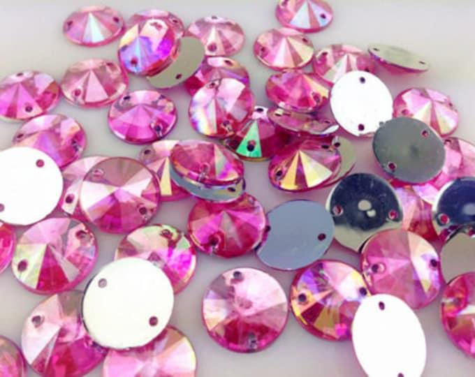 Light Pink AB Round Flat Back Pointed Sew On Rivoli Resin Rhinestones Embellishment Gems C8