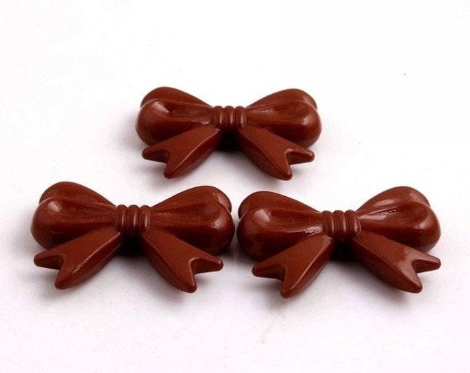 MajorCrafts® 4pcs Brown 46*36mm Large Chunky Acrylic Embellishment Bows C23