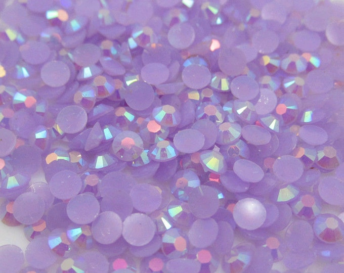 Lilac Purple AB Flat Back Round Resin Rhinestones Embellishment Gems C66