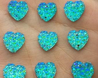 MajorCrafts® 50pcs 12mm Aqua Blue AB Flat Back Heart Sew On Resin Rhinestones Embellishment Gems