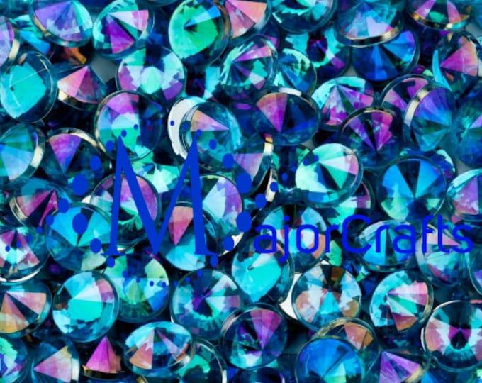 MajorCrafts® 120pcs 10mm Sky Blue Flat Back Taiwan Acrylic Rhinestones Gems C8