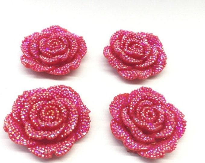 MajorCrafts 3pcs Bright Red AB 42mm Large Flat Back Chunky Resin Rhinestone Rose Flower Embellishments C4