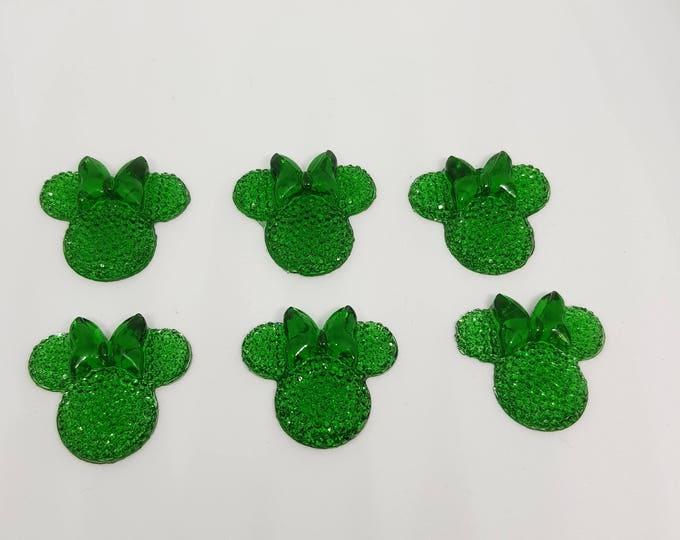 MajorCrafts® 6pcs Royal Green 28mm Flat Back Mouse Head & Bow Resin Rhinestones Gems