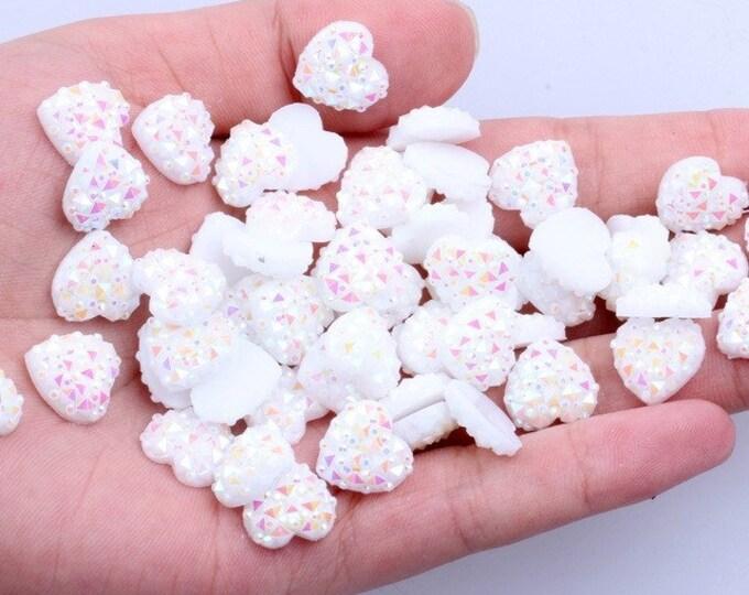 MajorCrafts® 60pcs 12mm Candy White AB Flat Back Heart Resin Rhinestones Embellishment Gems C01