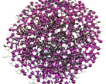 MajorCrafts® Dark Purple AB Flat Back Round Resin Rhinestones Embellishments C82