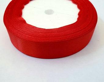 MajorCrafts® 20mm 22metres Crimson Red Single Sided Satin Fabric Ribbon Roll R26