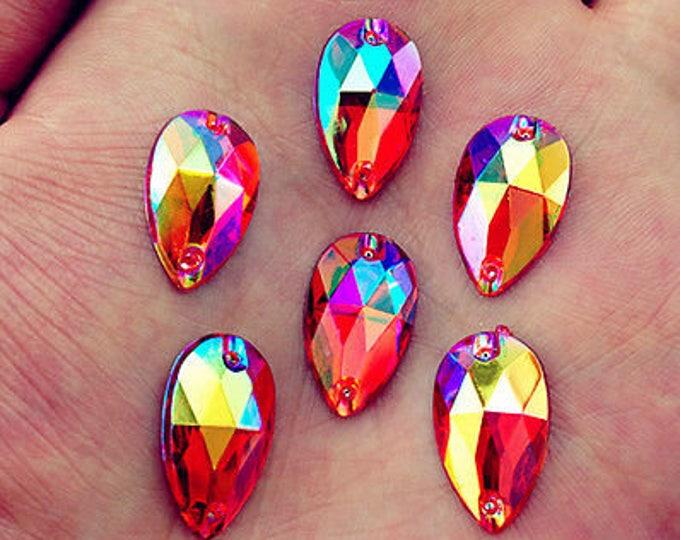 50pcs Red AB 18mm*11mm Flat Back Tear Drop Sew On Acrylic Rhinestones Embellishment Gems C03