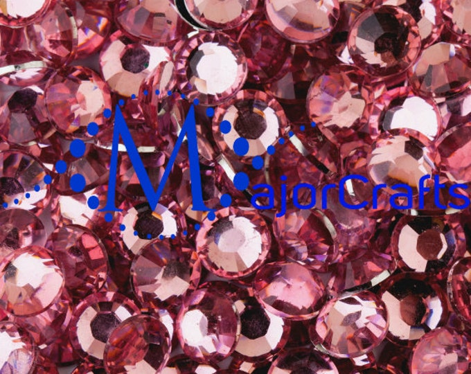 Pale Pink Flat Back Round Resin Rhinestones Embellishment Gems C3