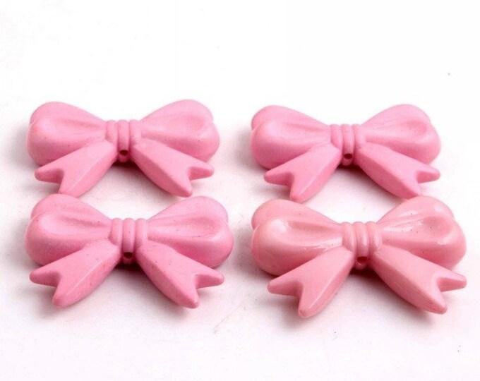 MajorCrafts® 4pcs Pale Pink 46*36mm Large Chunky Acrylic Embellishment Bows C21