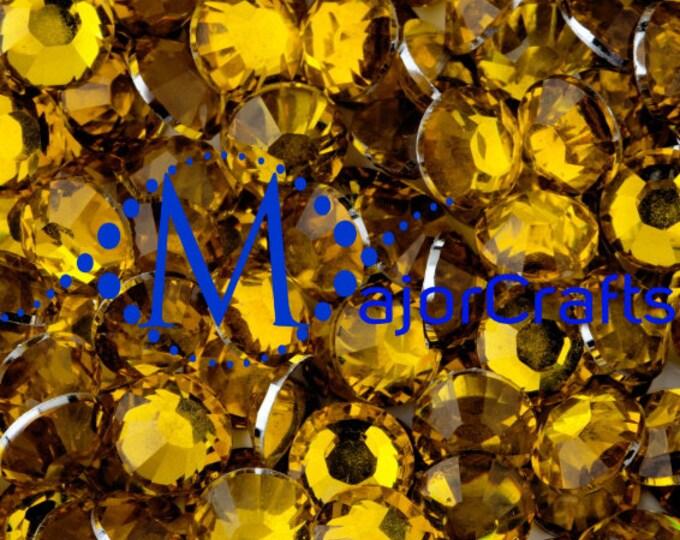 Citrine Yellow Flat Back Round Resin Rhinestones Embellishment Gems C22