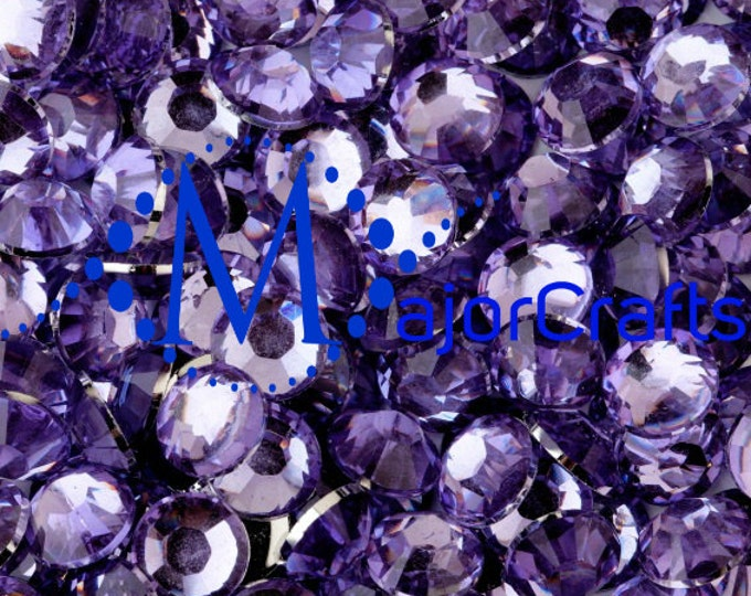Lilac Purple Flat Back Round Resin Rhinestones Embellishment Gems C12