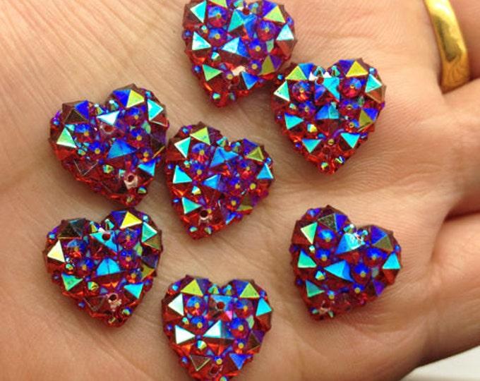 Red AB Flat Back Heart Sew On Resin Rhinestones Embellishment Gems