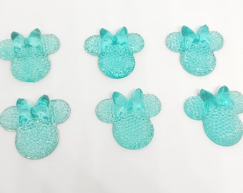 MajorCrafts® 6pcs Sky Blue 28mm Flat Back Mouse Head & Bow Resin Rhinestones Gems