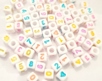 MajorCrafts® 200pcs 7mm Cube Colourful Mixed Numbers Acrylic Beads with 4mm Hole Size