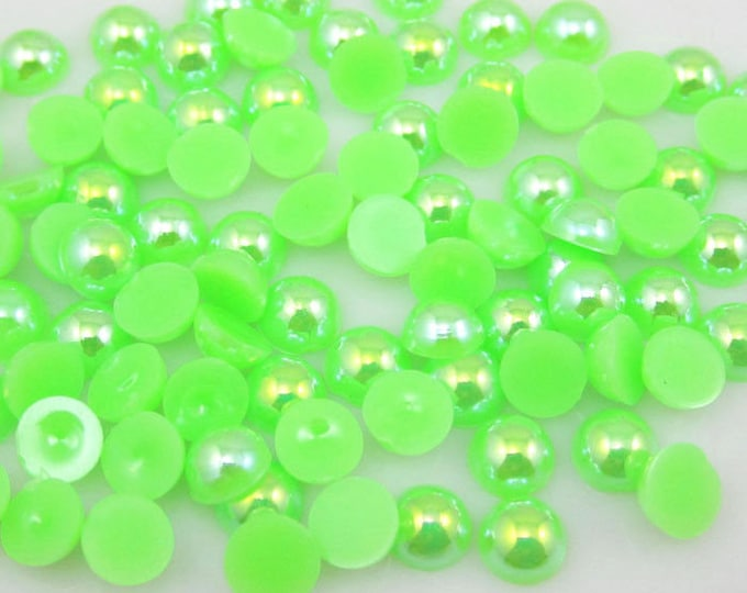 MajorCrafts® Neon Green AB Flat Back Half Round Resin Pearls C12