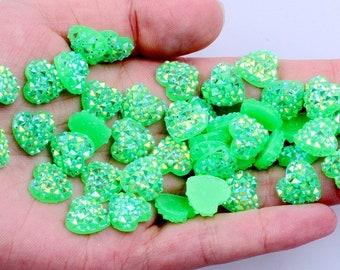 MajorCrafts® 60pcs 12mm Candy Green AB Flat Back Heart Resin Rhinestones Embellishment Gems C03