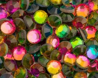 MajorCrafts® Rainbow Flat Back Round Glass Cut Hotfix Diamante Rhinestones C28