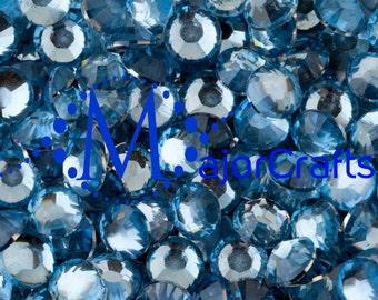 Light Blue Flat Back Round Resin Rhinestones Embellishment Gems C15