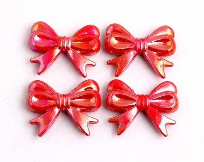 MajorCrafts® 4pcs Red AB 46*36mm Large Chunky Acrylic Embellishment Bows C7