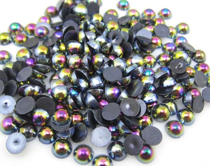 MajorCrafts® Black AB Flat Back Half Round Resin Pearls C13