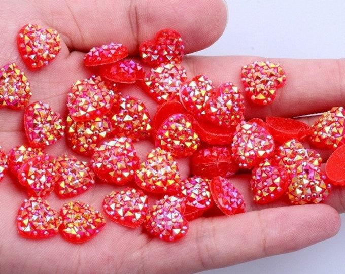 MajorCrafts® 60pcs 12mm Candy Red AB Flat Back Heart Resin Rhinestones Embellishment Gems C05