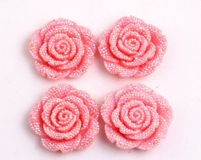 MajorCrafts 3pcs Light Pink AB 42mm Large Flat Back Chunky Resin Rhinestone Rose Flower Embellishments C7