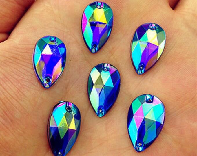 50pcs Royal Blue AB 18mm*11mm Flat Back Tear Drop Sew On Acrylic Rhinestones Embellishment Gems C02