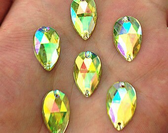 50pcs Light Yellow AB 18mm*11mm Flat Back Tear Drop Sew On Acrylic Rhinestones Embellishment Gems C14