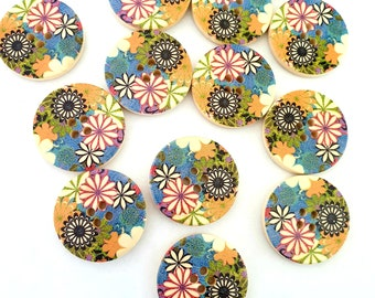 MajorCrafts® 14pcs 30mm Multicoloured Flower Pattern 4 Holes Sewing Round Large Wood Buttons Craft Embellishments…