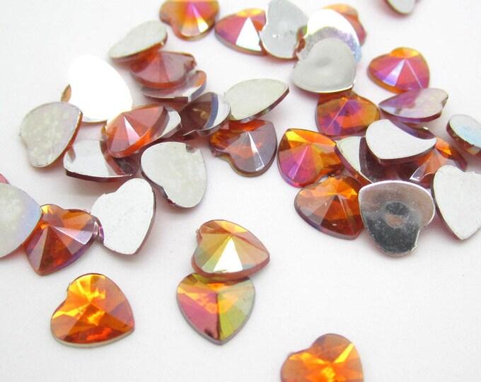 Orange AB Heart Flat Back Pointed Rivoli Resin Rhinestones Embellishment Gems C13