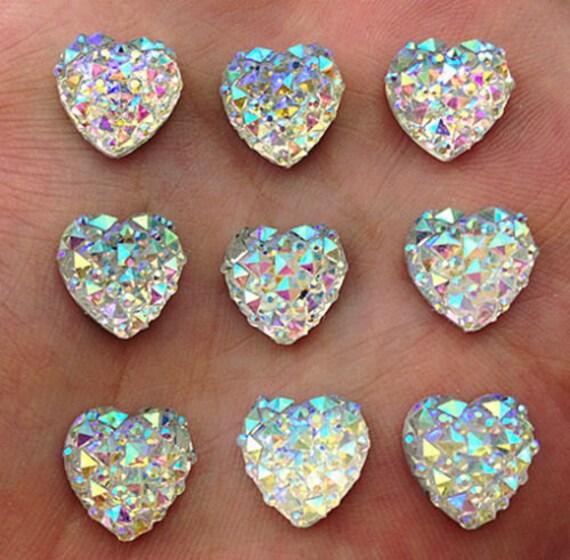 Crystal AB Flat Back Heart Resin Rhinestones Embellishment Gems by MajorCrafts