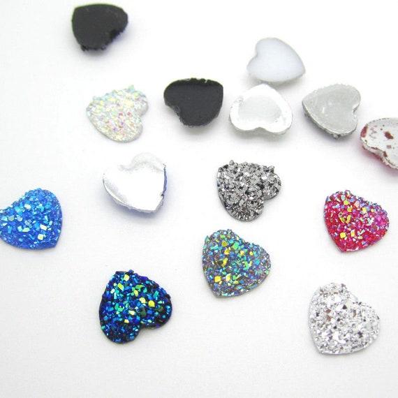 MajorCrafts® 40pcs 14mm Mixed AB Flat Back Heart Glitter Resin Rhinestones Gems