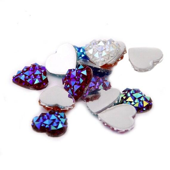 Mixed AB Flat Back Heart Resin Rhinestones Embellishment Gems